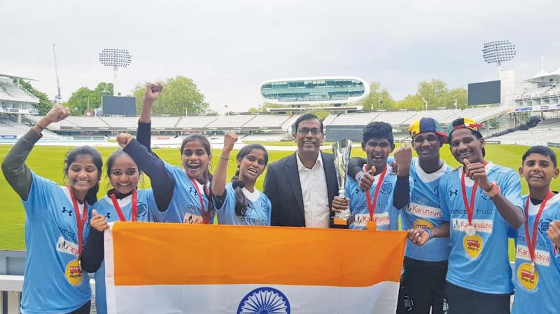 The eight-member Indian squad that won the 'Street Child Cricket World Cup' at Lords, London. (Photo: DC)