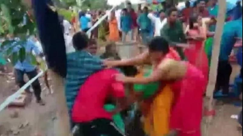 Wedding celebrations in Telangana's Suryapet district turned ugly after a fight broke out between the bride and the groom's family members. (Photo: ANI)
