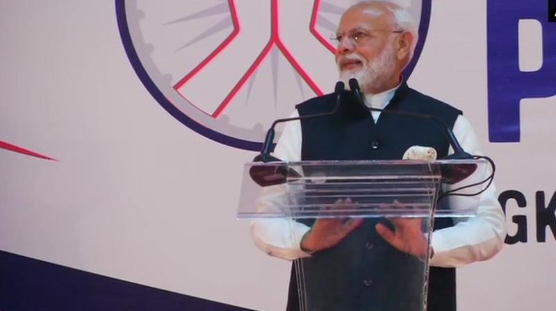 Prime Minister Narendra Modi said here on Saturday, in a clear reference to abrogation of Article 370 from Jammu and Kashmir and reorganisation of the state. (Photo: Twitter/ ANI)