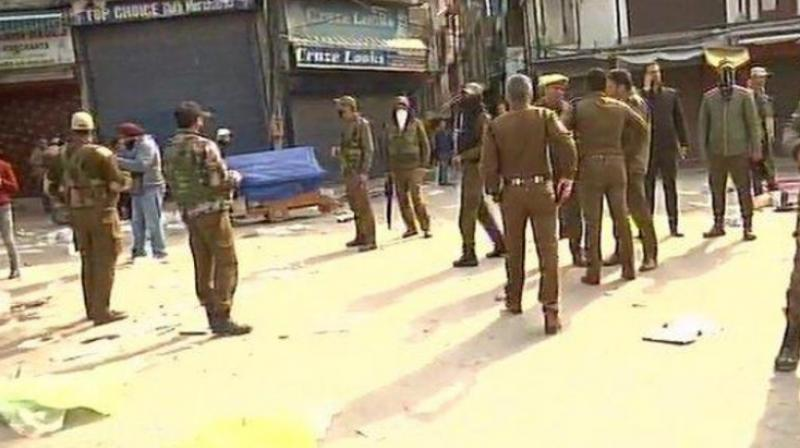 A civilian was killed and 15 others were injured as terrorists lobbed a grenade in a busy market area here on Monday, police said. (Photo: ANI)