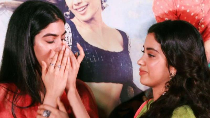 Khushi and Janhvi Kapoor at 'Dhadak' trailer launch.