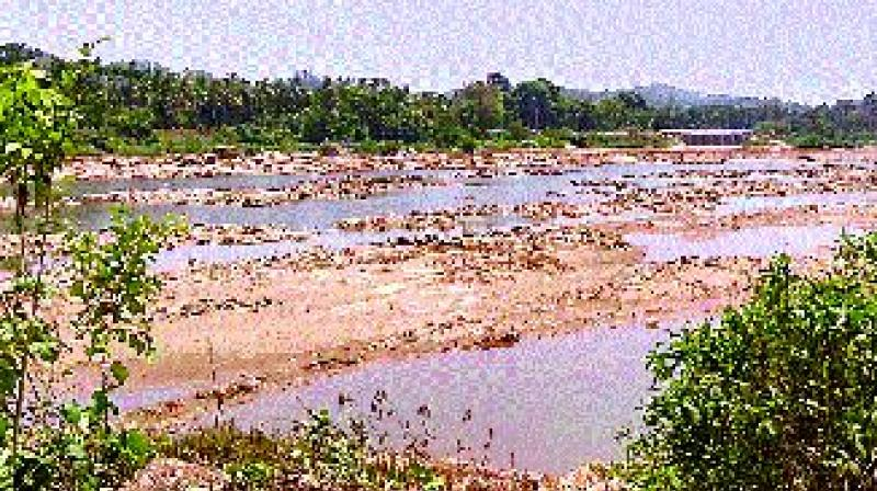 The dried up Netravathi river in Dakshina Kannada district
