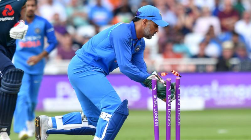India's wicketkeeper-batsman Mahendra Singh Dhoni once again played a slow-paced innings of 42 runs from 66 balls, but his masterclass behind the wickets was still evident. (Photo: AFP)