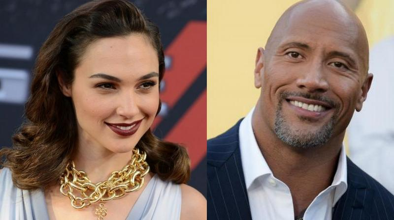 Gal Gadot and Dwayne Johnson.