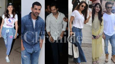 Bollywood celebs John Abraham, Varun Dhawan, Malaika Arora, Aayush Sharma-Warina Husain and others were spotted in the city. Checkout the exclusive pictures of your favourite Bollywood stars here. (Photos: Viral Bhayani)