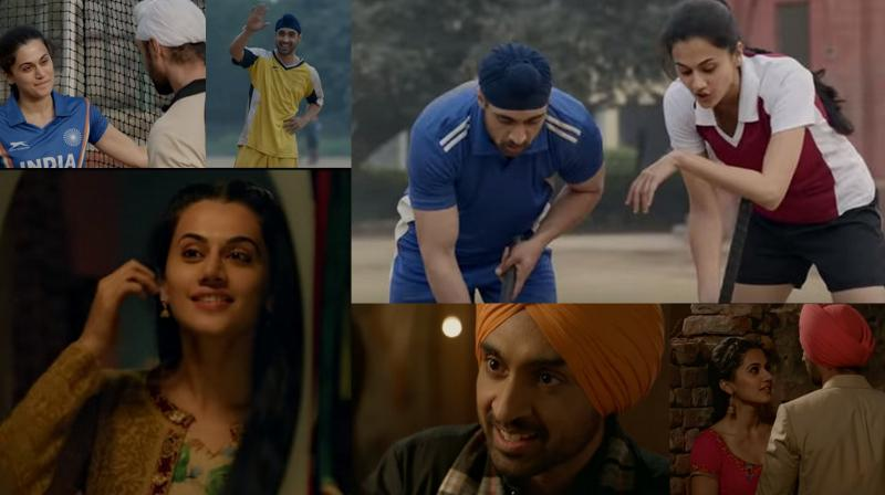 Diljit Dosanjh and Taapsee Pannu in the screengrabs from Soorma's first song 'Ishq Di Baajiyaan'. (Credit: YouTube/ Sony Music India)