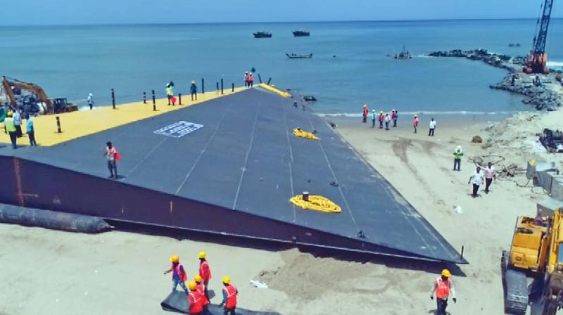 National Institute of Ocean Technology immerses India's first wedge-shaped near shore artificial reef at Puducherry coast, as part of Pondy beach restoration  project. (Photo:DC)
