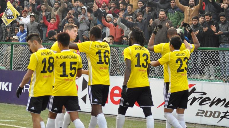 Kashmir's goals were scored by Ghanaian forward Kofi, Mason Robertson, Nagen Tamang, Gnohere Krizo and Surchandra Singh. (Photo: Twitter)