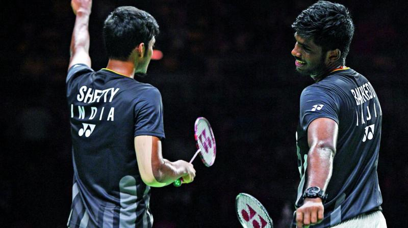 The Indian men's doubles pair of Satwiksairaj Rankireddy and Chirag Shetty suffered a straight-game loss to Japan's Takeshi Kamura and Keigo Sonoda to crash out of the China Open badminton tournament here on Thursday. (Photo:File)