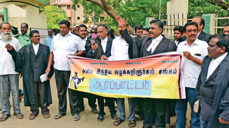 Anti-Centre protest by lawyers in Madurai. (Photo: DC)