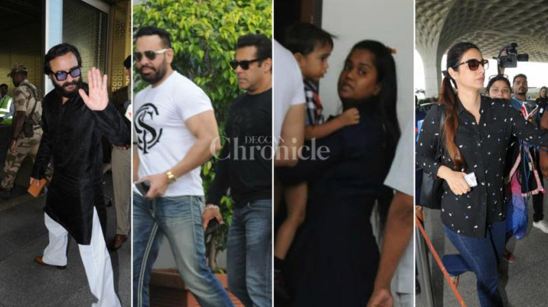 Salman Khan along with his bodyguard Shera, sisters Arpita Khan Sharma and Alvira Khan Agnihotri, left to Jodhpur to hear his verdict on the black buck case. He was also accompanied by his 'Hum Saath Saath Hai' co-stars Saif Ali Khan, Tabu and Sonali Bendre Behl.
