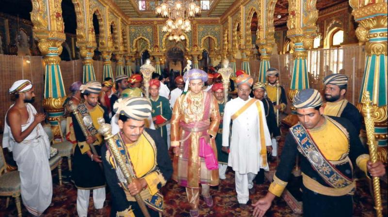 A file photo of scion of the Mysuru royal family, Yaduveer Krishnadatta Chamaraja Wadiyar arriving at the Darbar Hall of Mysuru Palace