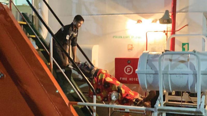 The patient along with medical staff and escorts were embarked on board  MV Triton Liberty at 9 pm on May 24 and disembarked at Kavaratti at 4 am on May 25.