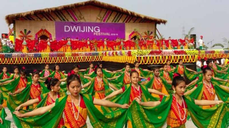 To promote the river tourism in the rural areas of the Bodoland Territorial Council (BTC) and the state, the 12-day-long 3rd edition of 'Dwijing Festival' was recently celebrated in Assam. (Photo: ANI)