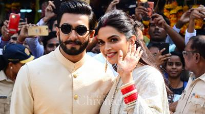 DeepVeer aka Deepika Padukone and Ranveer Singh were snapped at Siddhivinayak temple post wedding.