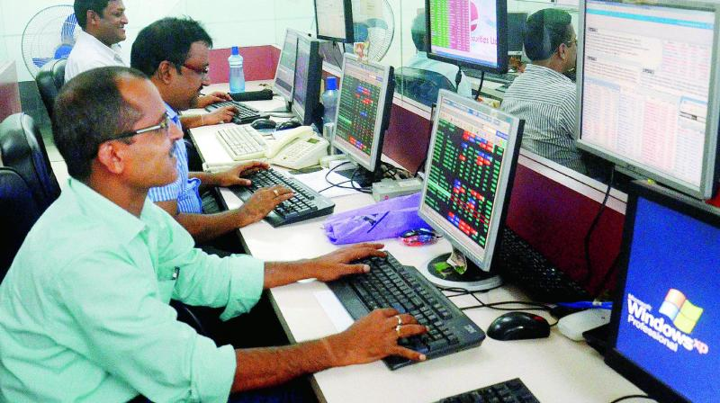 The 30-share Sensex was trading 298.53 points, or 0.83 per cent, lower at 35,585.88. (Photo: AP)