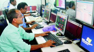 The broader NSE Nifty was quoting 35.90 points, or 0.30 per cent, down at 11,870.30. (Photo: AP)