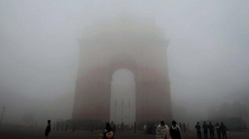 Fog at India Gate in New Delhi on Sunday. 	(file pic)