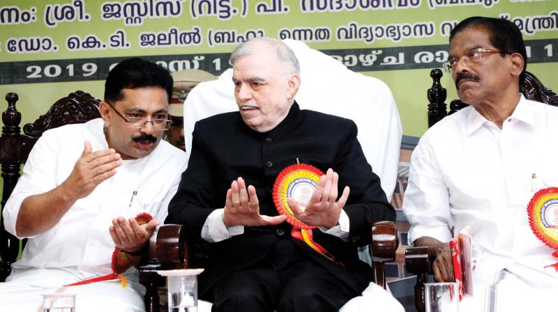 Governor P.Sathasivam with K.T. Jaleel, minister for higher education, during the inaugural function of  Convergence Academia Complex at MG University Athirampuzha, in Kottayam on Monday.  Thomas Chazhikadan, MP, also seen.
