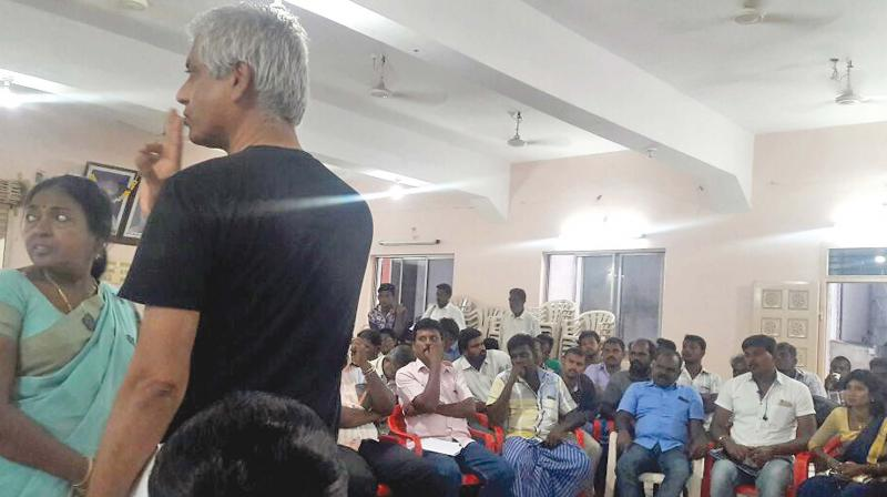 Samarendra Das with Fatima Babu at the anti-Sterlite consultative meeting held recently at Hotel DSF in Thoothukudi. (Photo: DC)
