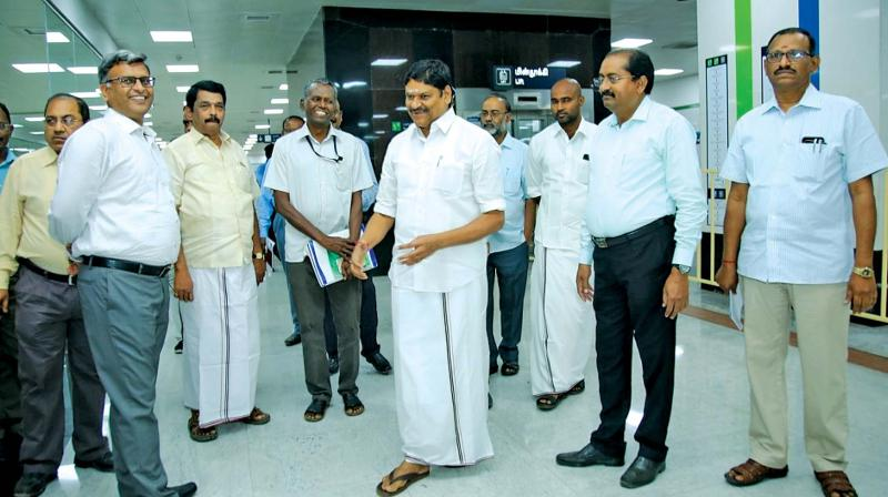 TN Minister for Industries M.C. Sampath conducts inspection at Central Metro Station along with managing director of CMRL, Pankaj Kumar Bansal. Prime Minister Narendra Modi and Chief Minister Edappadi K Palaniswami will inaugurate the last stretch of the Chennai Metro Rail Project from AG-DMS to Washermanpet via video conferencing at Tirupur on Sunday.	 — DC