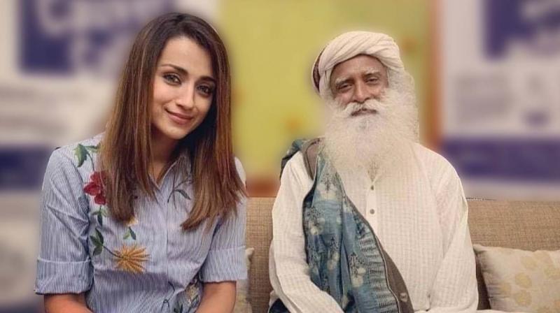Actress Trisha with Sadhguru.