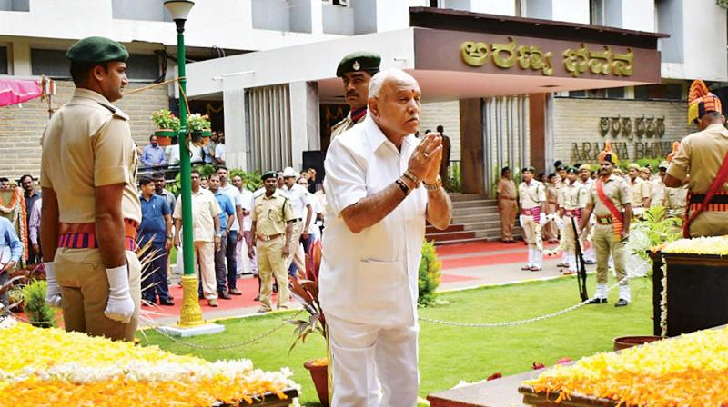 Chief Minister B.S. Yediyyurappa participated in Forest Martyrs Day at Aranya Bhavan in Bengaluru on Wednesday.  (KPN)