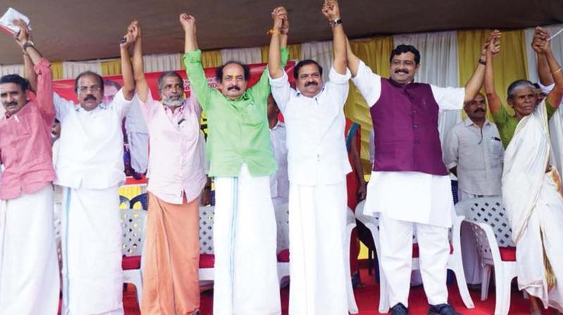 Leaders of Vayalkilikal at the BJP venue in Keezhattoor on Tuesday.