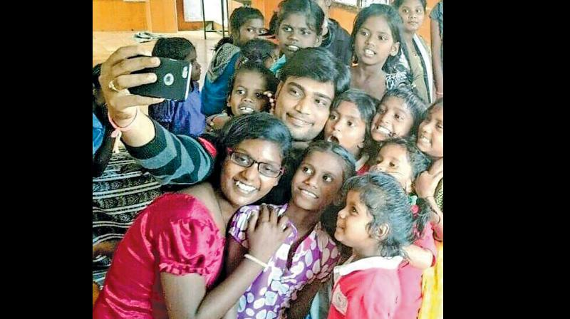 Aravind Jayabal, founder of Rain Drops with children from Seers Girls home
