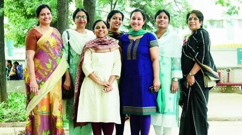 Swati, Shaila, Radhika, Durga, Shanti Vasuda and Santha John, with other group members.
