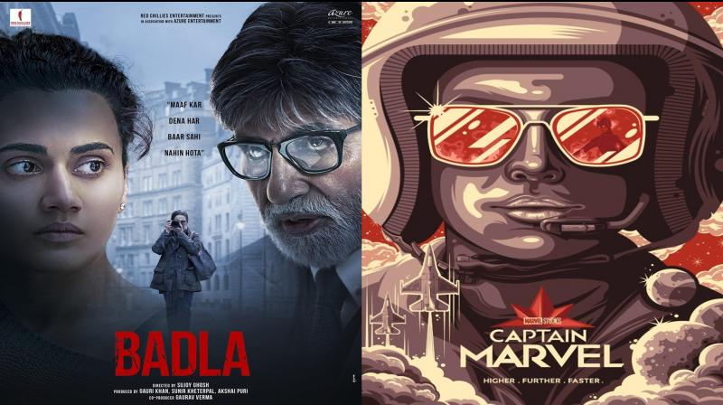 Badla and Captain Marvel posters. (Photo: Twitter)