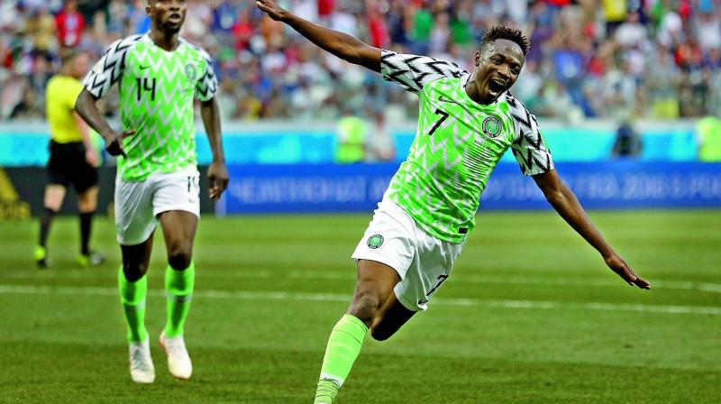 Nigeria's Ahmed Musa celebrates scoring the second goal against Iceland in their Group 'D' match at the Volgograd Arena on Friday. (Photo:AP)
