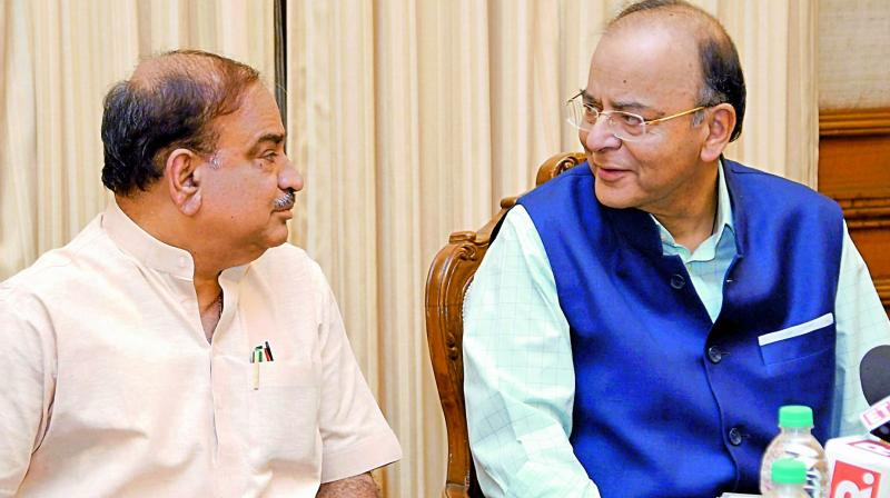 Finance Minister Arun Jaitley and Parliamentary Affairs Minister Ananth Kumar. (Photo: AP)