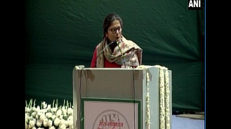 """Lately a triple talaq law was brought in and through this Prime Minister Narendra Modi has created an atmosphere of confrontation between Muslim men and women,"" said Sushmita Dev. (Photo: ANI)"