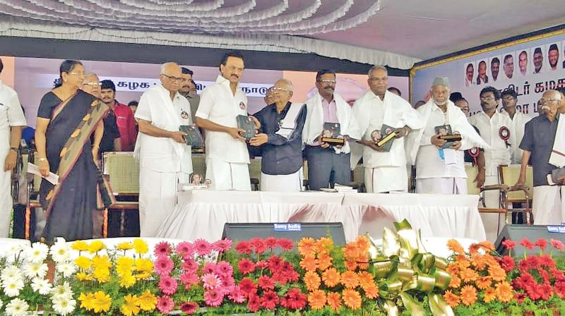 DMK president M. K. Stalin with DK leader K. Veeramani and leaders of various political parties at a rally in Salem on Tuesday evening to mark the 75th anniversary of the Dravidar Kazhagam launched by Periyar in Salem town way back in 1944. (Photo: DC)