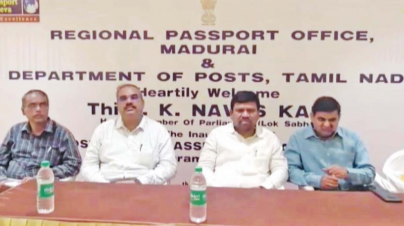 Ramnad MP K. Nawaskani with officials at the  inaugural on Tuesday. (Photo: DC)