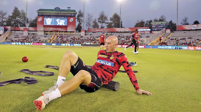 KKR opener Chris Lynn during a warm-up session. (Photo: BCCI)