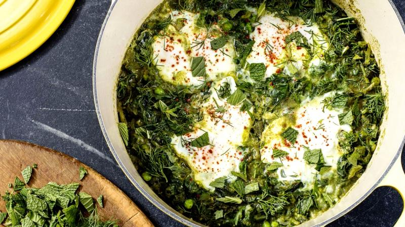 This recipe can be used as a template that swaps out the long-cooked red sauce for a fresh, vibrant mix of greens. (Photo: AP)