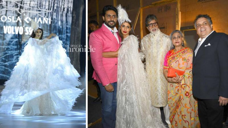 Amitabh Bachchan's daughter Shweta Bachchan Nanda walked the ramp for designers Abu Jani and Sandeep Khosla and the Bachchan family along with numerous other B-Town celebrities were present for the show on Friday night. (Photo: Viral Bhayani)