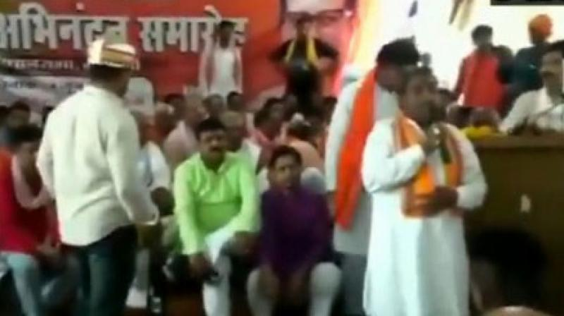 The BJP leader was addressing a gathering of party workers during a 'Karyakarta Sammelan Samaroh' here. (Photo: ANI)
