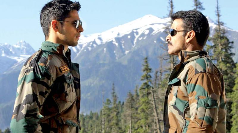 Still from the movie Aiyaary.