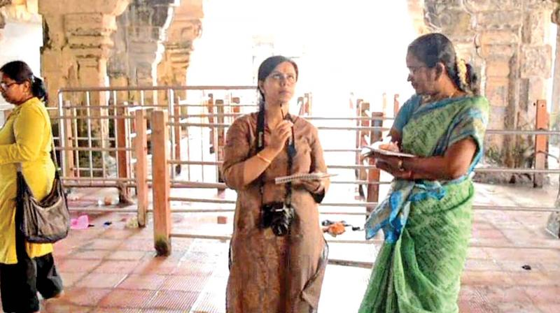 Experts team at the second corridor at Rameswaram temple on Thursday (Photo: DC)