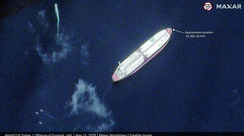 A satellite image provided by Maxar Technologies shows the Saudi-flagged oil tanker Amjad off the coast of Fujairah, United Arab Emirates, on Monday. (Photo - AP)