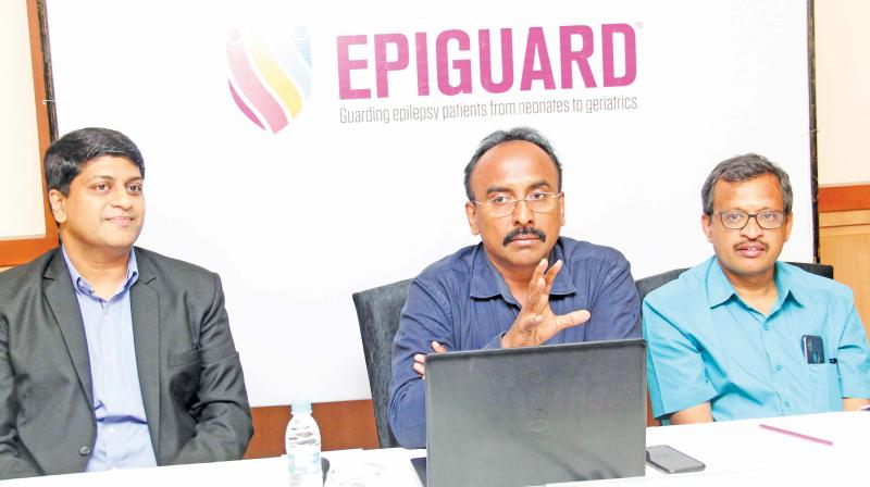 (From left)Dr J. Karankumar, associate medical director from Abbott, Dr. K. Vijayan consultant neurologist at Royal Care Hospital and Dr TCR Ramakrishnan, consultant pediatric neurologist of KG Hospital. (Photo - DC)