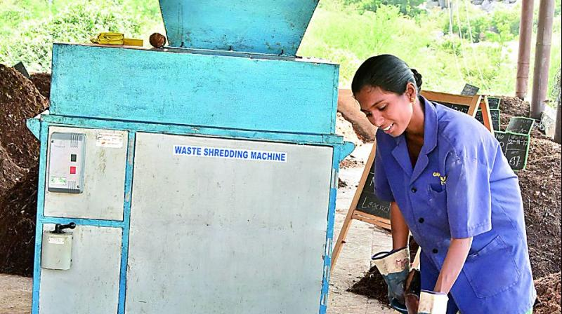 Workers put waste into the Waste Shredding Machine. (Photo: DC)
