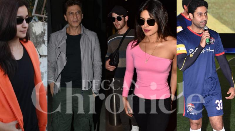 Newlyweds Priyanka chopra and Nick Jonas were snapped arriving hand in hand at the Mumbai airport this morning. Shah Rukh Khan, Alia Bhatt and other Bollywood stars were spotted in the city. (Photos: Viral Bhayani)