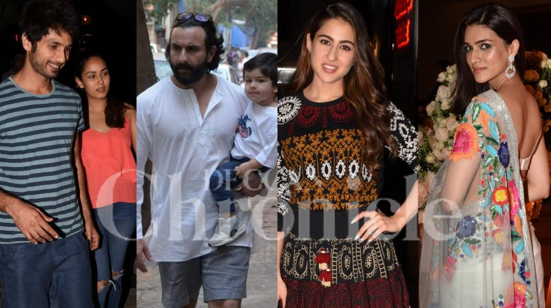 Shahid Kapoor and wife Mira Rajput, Saif Ali Khan with Taimur, Kriti Sanon, Sara Ali Khan and other Bollywood celebs were spotted in the city. (Pictures: Viral Bhayani)