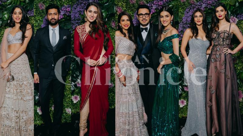 'Stree' producer Dinesh Vijan held a wedding reception party last night which saw Sara Ali Khan, Janhvi Kapoor, Kriti Sanon, Sonakshi Sinha, Kartik Aaryan among other attend it. See photos here. (Pictures: Viral Bhayani)