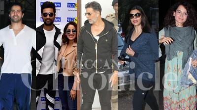 Bollywood stars Akshay Kumar, Kangana Ranaut, Varun Dhawan, Vicky Kaushal, Sushmita Sen and others were spotted in the city. Check out the pictures here. (Photos: Viral Bhayani)