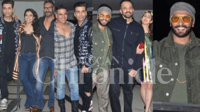 Ranveer Singh, Sara Ali Khan and Rohit Shetty celebrated the success of their blockbuster film Simmba with a star-studded party in Mumbai. Check out the photos here. (Pictures: Viral Bhayani)